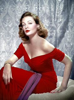 Gene Tierney red evening dress